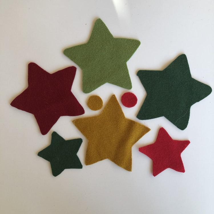 2 st Stjärnor i ull, materialsats