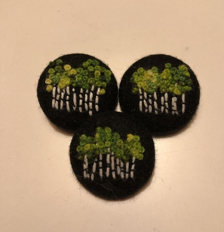 Handsydd knapp björkskog 35 mm
