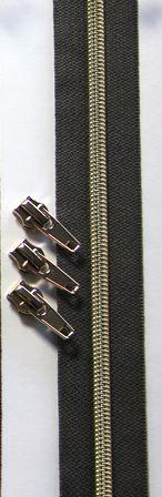 Dragkedja Nr 3 - 1 m med kläppar