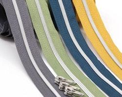 Dragkedja Nr 3 - 27 färger med silverspiral