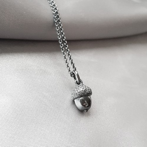 """Acorn"" Necklace in oxidiced silver"