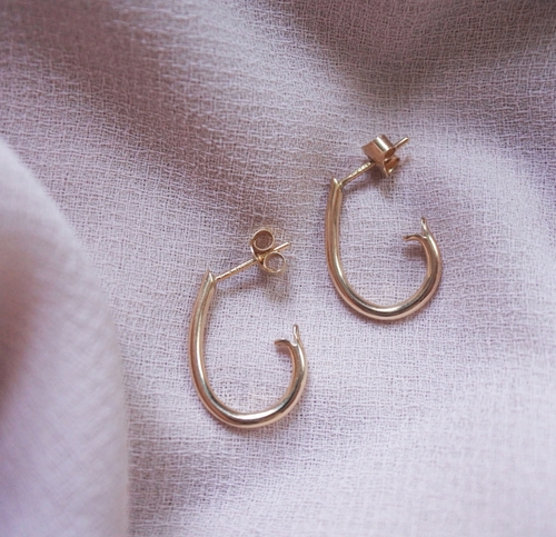 """Drop Hoops"" in 18K gold"