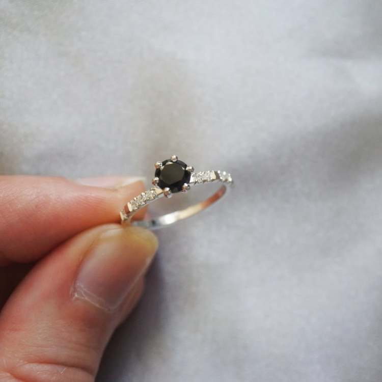 """North Star Sparkle"" in gold with a 0.70ct black diamond and small TW/VS diamonds"