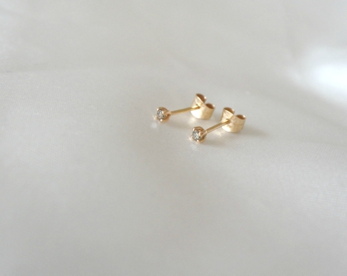 """Stardust"" earstuds in gold, choose gemstone"