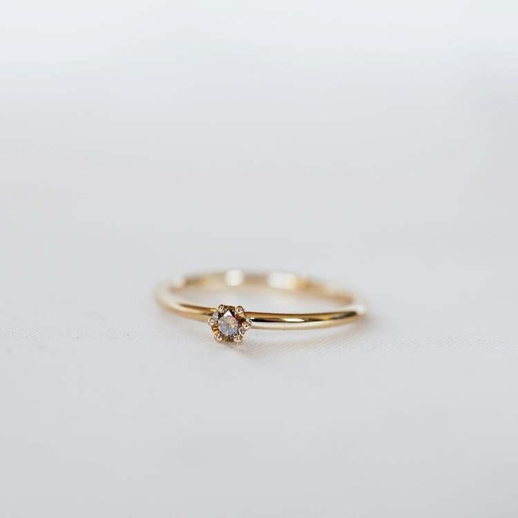 """Cordelia"" ring with diamond (choose cognac, white or champage diamond)"