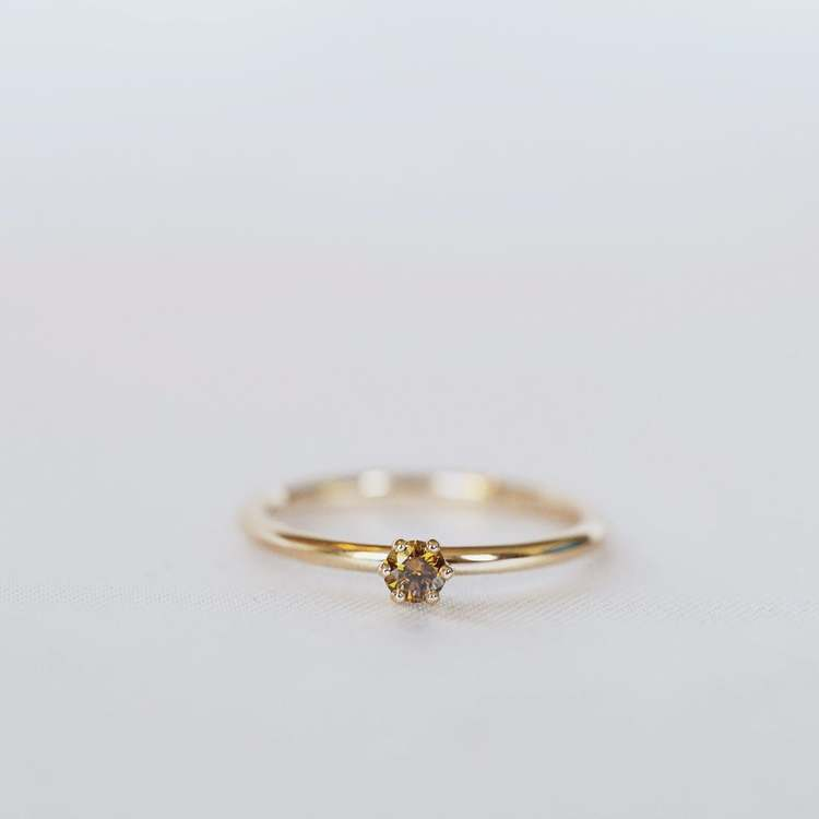 """Cordelia"" ring with diamond (choose cognac, white or champage diamond)"