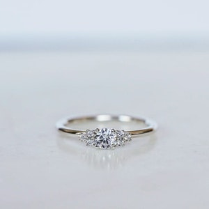 """""""Juliet"""" ring with a 0.25ct & six 0.01ct diamonds."""