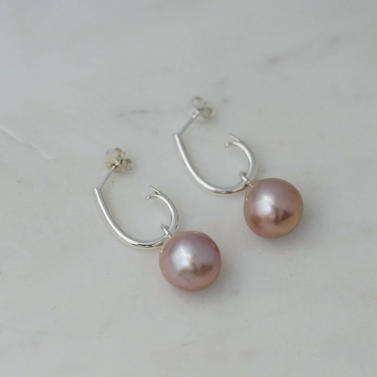 "Big pink baroque freshwater pearl pendants to wear on ""Drop Hoops"""