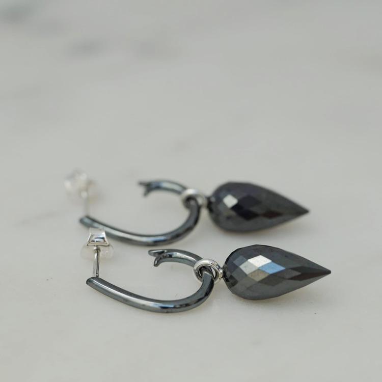 """Hematite pendants to wear on oxidized """"Drop Hoops"""""""