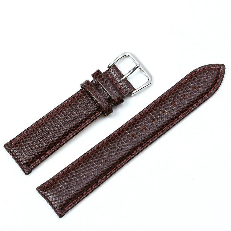 Ödlemönstrat band av brunt läder 16mm 18mm 20mm