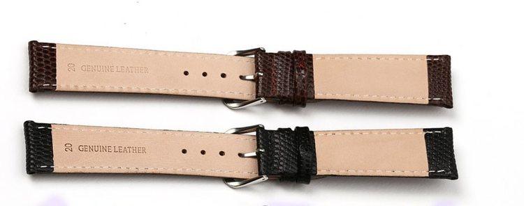 Ödlemönstrat klockarmband av brunt läder lizard ödla