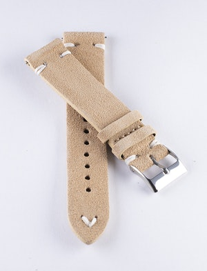 Khaki suede / genuine leather watch band 18mm 20mm 22mm 24mm
