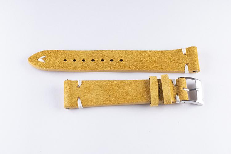 Klockarmband av gulbrun mocka / läder 18mm 20mm 22mm 24mm