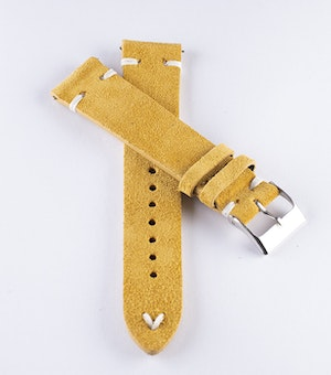 Mustard suede / genuine leather watch band 18mm 20mm 22mm 24mm