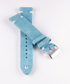 Turquoise suede / genuine leather watch band 18mm 20mm 22mm 24mm