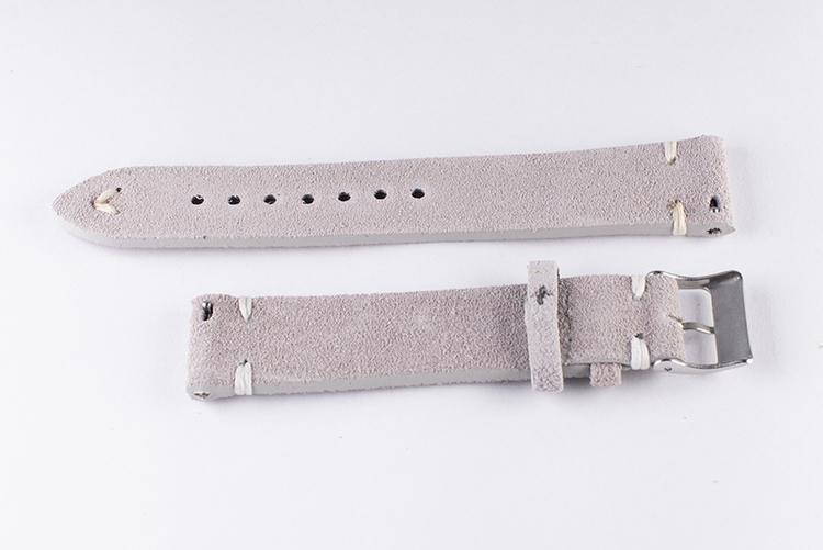 Klockarmband av grå mocka / läder 18mm 20mm 22mm 24mm