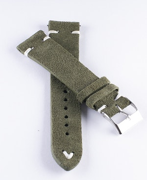 Green suede / genuine leather watch band 18mm 20mm 22mm 24mm