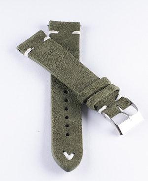 Klockarmband av grön mocka / läder 18mm 20mm 22mm 24mm
