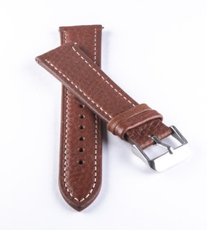 Watch band of dark brown genuine leather with white seam 18mm 20mm 22mm