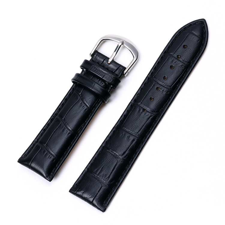 Black Croco watch strap from genuine leather 16mm 18mm 20mm 22mm