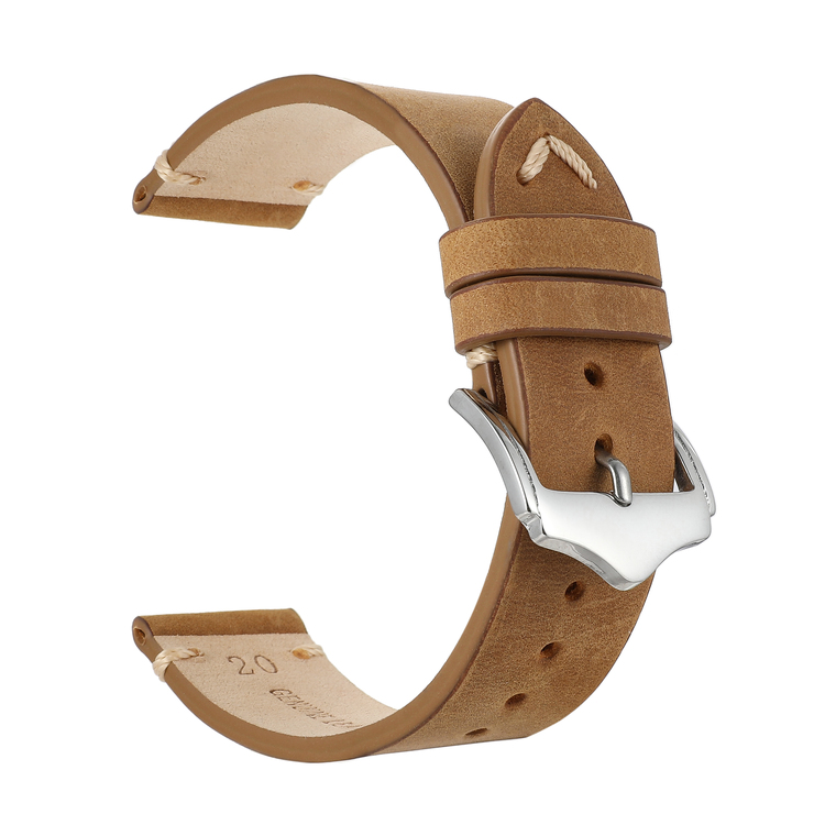 Khaki vintage klockarmband av läder 18mm 20mm 22mm