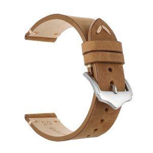 Khaki leather vintage style watch band 18mm 20mm 22mm