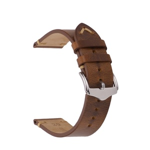 Brown vintage style leather watch band 18mm 20mm 22mm