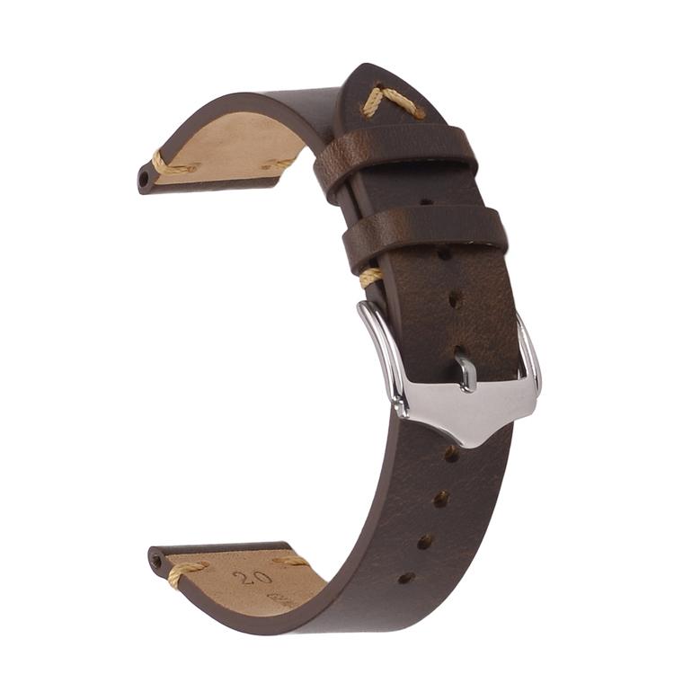Mörkbrunt vintage klockarmband av läder 18mm 20mm 22mm