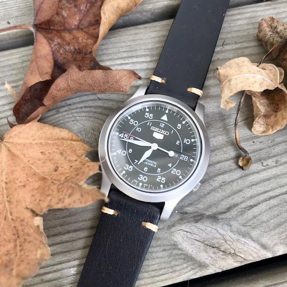 Svart vintage klockarmband av läder