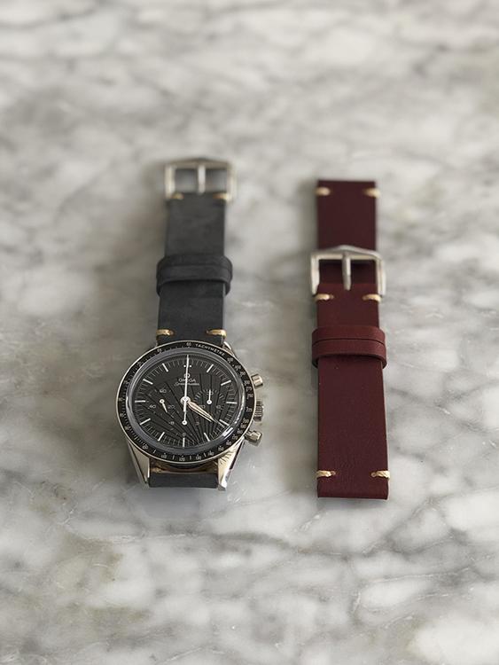 Grått vintage klockarmband av läder