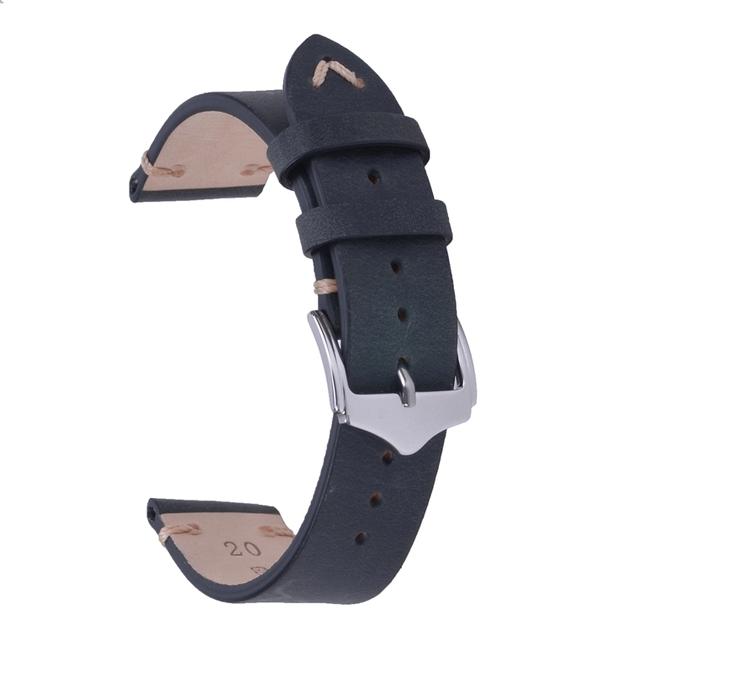 Matt svart vintage klockarmband av läder 18mm 20mm 22mm