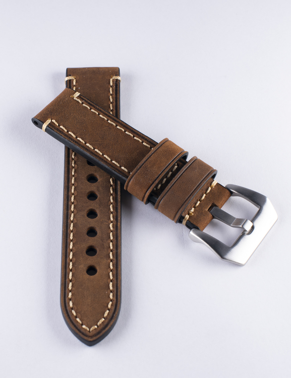 Brown genuine leather watch band with stitching 22mm 24mm