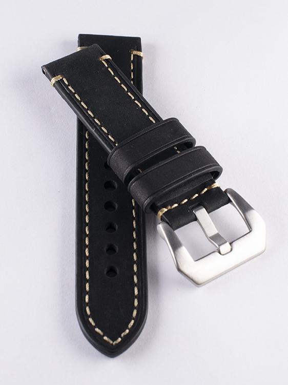 Svart kraftigt klockarmband av läder med sömmar 20mm 22mm 24mm