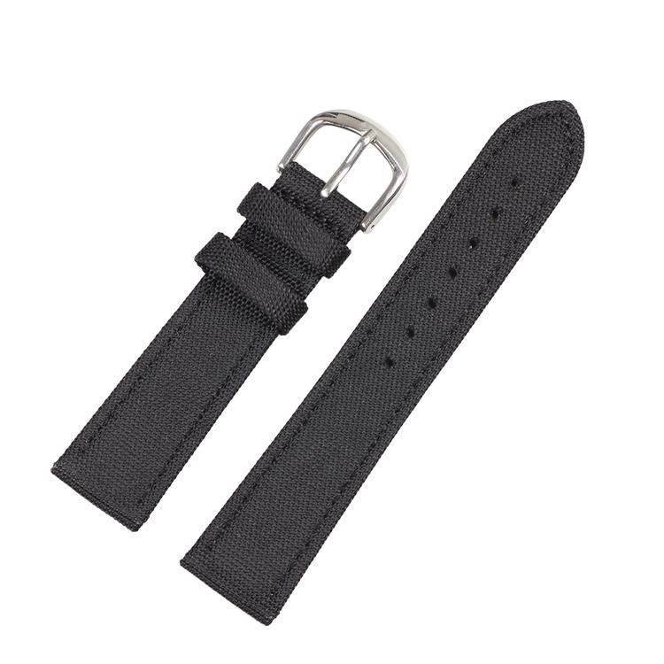Svart klockarmband sailcloth / läder 18mm 20mm 22mm 24mm