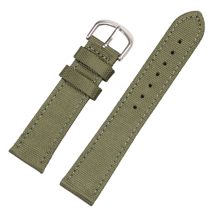 Green canvas and genuine leather watch band 18mm 20mm 22mm 24mm