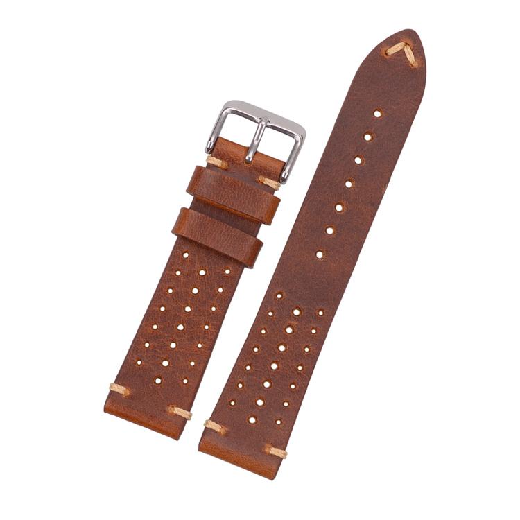 Racing klockarmband av brunt läder 18mm 20mm 22mm