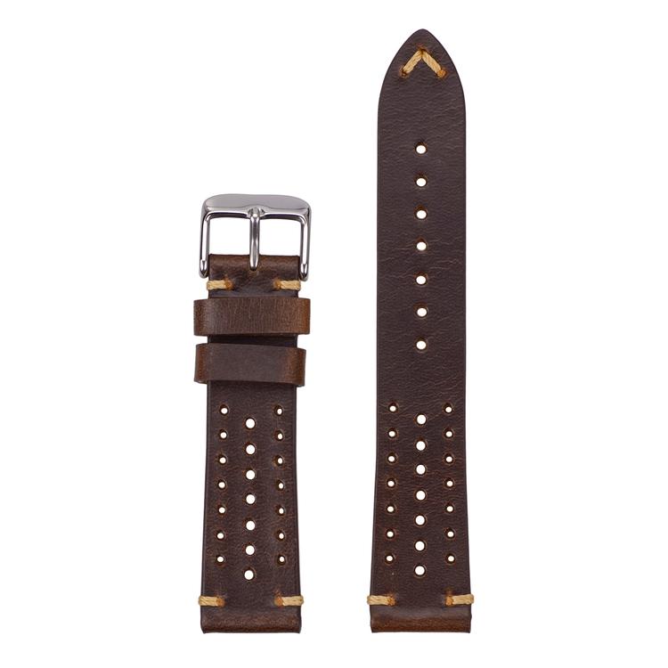 Racing klockarmband av mörkbrunt läder  18mm 20mm 22mm
