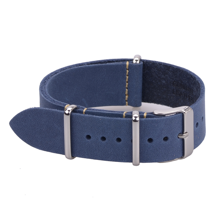 Blue leather Nato strap 18mm 20mm 22mm
