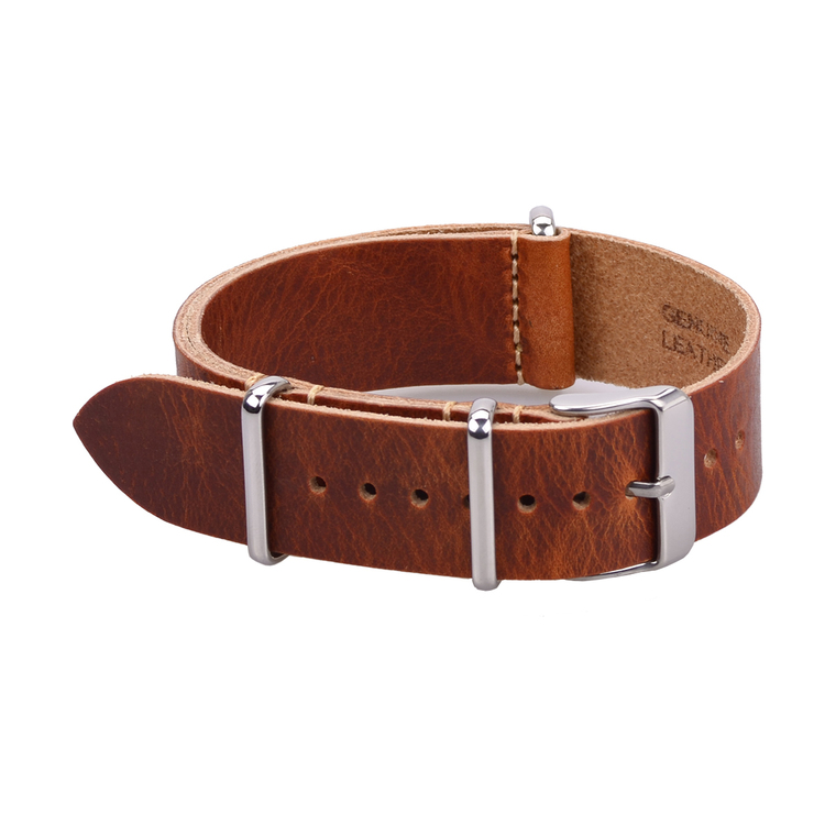 Brown leather Nato strap 18mm 20mm 22mm