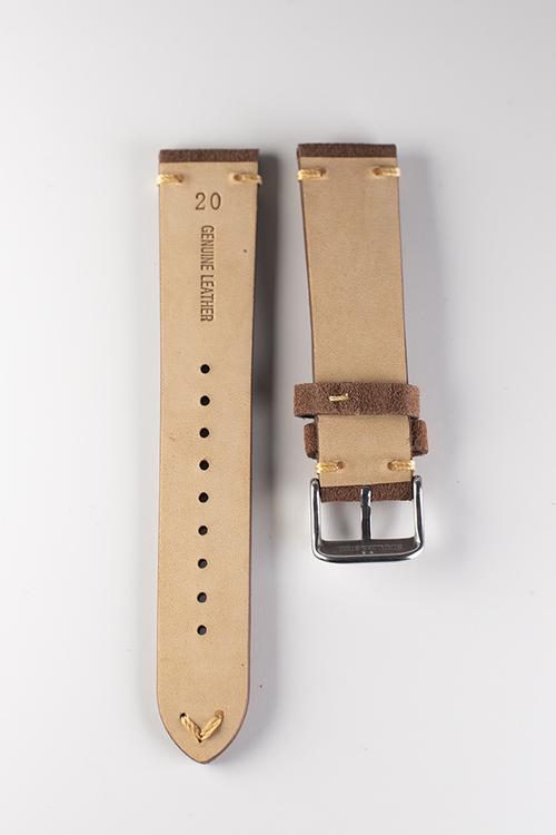Klockarmband av mörkbrun mocka 18mm 20mm 22mm