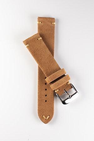 Premium klockarmband av brun mocka 18mm 20mm 22mm