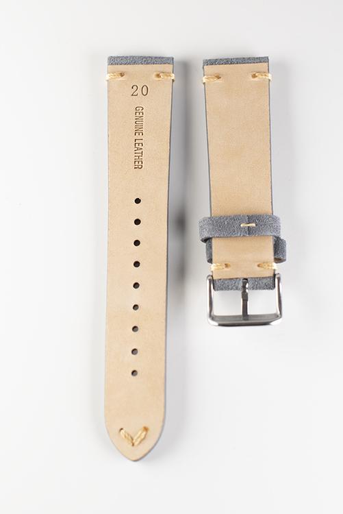 Klockarmband av grå mocka 18mm 20mm 22mm läder