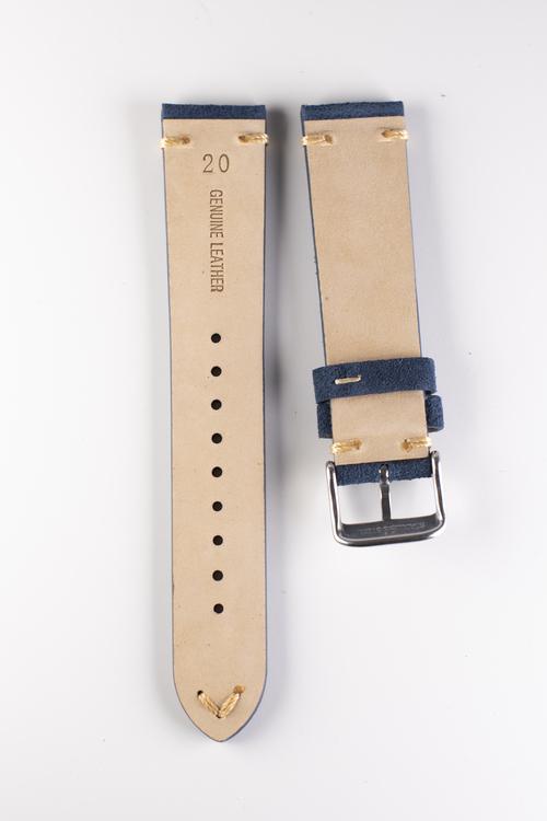 Klockarmband av blå mocka 18mm 20mm 22mm läder