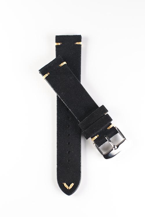 Klockarmband av svart mocka 18mm 20mm 22mm läder