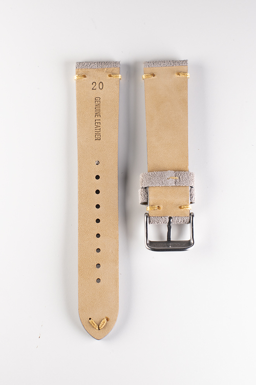 Premium klockarmband av beige / khaki mocka 18mm 20mm 22mm läder