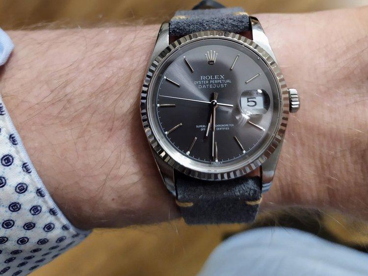 Premium klockarmband av grå mocka 18mm 20mm 22mm