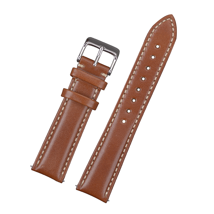 Classic brown leather watch band with white stitching 18mm 20mm 22mm