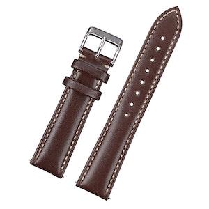 Klassiskt klockarmband av mörkbrunt läder med vit söm