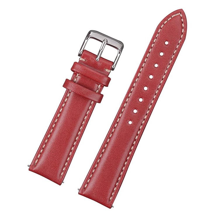 Classic red leather watch band with white stitching 18mm 20mm 22mm