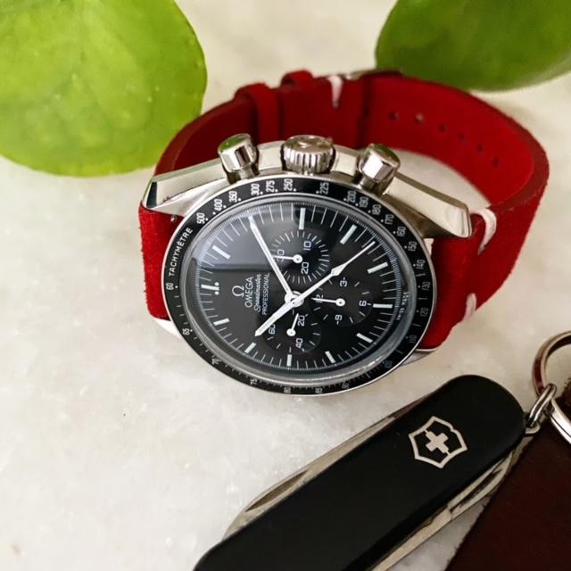 Klockarmband av röd mocka / läder 18mm 20mm 22mm 24mm